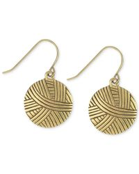 The Sak | Metallic Goldtone Batik Design Disc Drop Earrings | Lyst