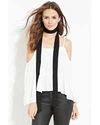 Forever 21 - White Contemporary Chiffon Open-shoulder Top - Lyst