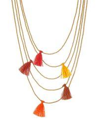 Nakamol - Orange Multi-Strand Beaded Tassel Necklace - Lyst