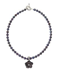 Stephen Dweck - Black Pearl Necklace W/mother-of-pearl Flower Pendant - Lyst