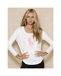 Ralph Lauren - White Pink Pony Long-sleeved Tee - Lyst