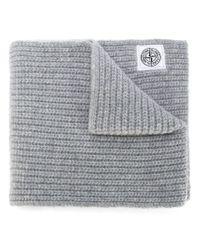 Stone Island - Gray Chunky Knit Scarf - Lyst