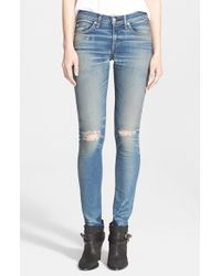 Rag & Bone - Blue 'the Skinny' Destructed Jeans - Lyst