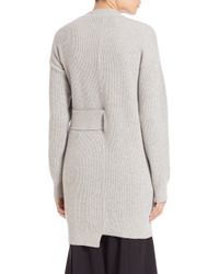 Proenza Schouler - Gray Side Tie Wool & Cashmere Ribbed Sweater - Lyst