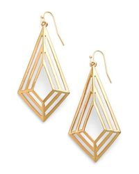 Trina Turk | Metallic Geo Cutout Drop Earrings | Lyst