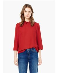 Mango | Red Pleated Neck Blouse | Lyst