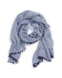 Halogen | Blue 'Sparkle Stripe' Pompom Trim Scarf | Lyst