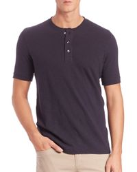 Vince - Blue Short-sleeve Cotton Henley for Men - Lyst