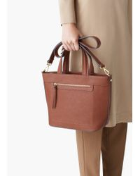 Mango - Brown Zip-detail Tote Bag - Lyst