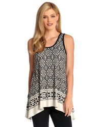 Karen Kane | Black Geometric Sleeveless Top | Lyst