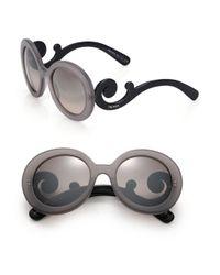 Prada | Gray 55mm Round Sunglasses | Lyst