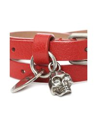 Alexander McQueen - Red Leather Double Wrap Charm Bracelet - Lyst