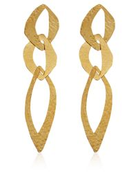 Herve Van Der Straeten - Metallic Goldplated Cut Out Tiered Earrings - Lyst