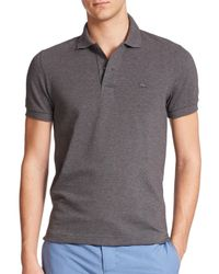 Lacoste - Gray Tonal Croc Pique Polo for Men - Lyst