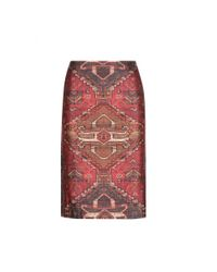 Tory Burch - Multicolor Printed Wool And Silk Skirt - Lyst