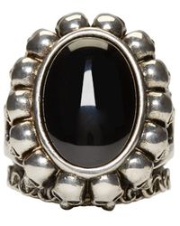 Alexander McQueen - Metallic Silver Skull & Bone Ring for Men - Lyst