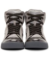 Lanvin - Brown Tricolor High_top Sneakers for Men - Lyst