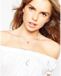 ASOS - Metallic Eclectic Charm Multirow Necklace - Lyst