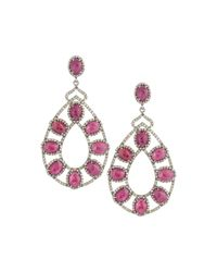 Bavna | Red Composite Ruby & Diamond Double-drop Earrings | Lyst
