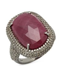 Bavna - Purple Sterling Silver Champagne Pave Diamond And Ruby Ring - Lyst