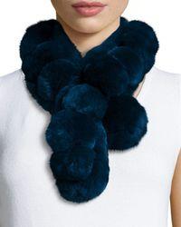 Belle Fare | Black Rex Rabbit Fur Pompom Neck Warmer | Lyst