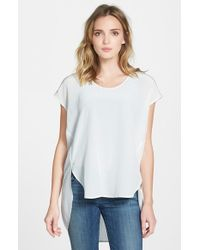 Eileen Fisher | White Cap Sleeve Silk U-neck High/low Tunic | Lyst
