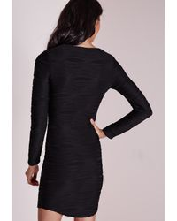 Missguided - Textured Rib Lace Up Long Sleeve Bodycon Dress Black - Lyst