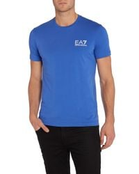 EA7 | Blue Logo Crew Neck Regular Fit T-shirt for Men | Lyst
