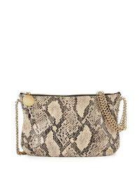 Stella McCartney - Brown Snake-Print Crossbody Bag - Lyst