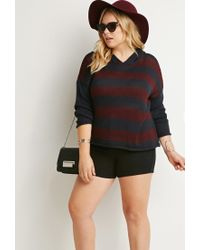 Forever 21 | Blue Hooded Stripe Sweater | Lyst