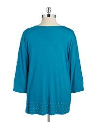 Calvin Klein | Green Plus Studded V-neck Blouse | Lyst