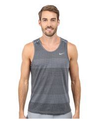 Nike - Gray Dri-fit™ Cool Tailwind Strip Tank Top for Men - Lyst