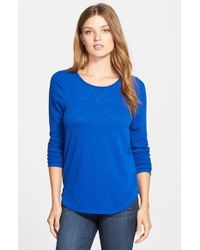 Lucky Brand - Blue Jacquard Cotton-Blend Top - Lyst