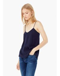Mango | Blue Textured Cotton Top | Lyst