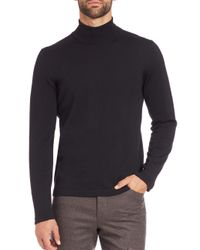 Saks Fifth Avenue - Black Merino Wool Turtleneck Sweater for Men - Lyst
