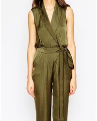 ASOS | Natural Tall Utility Wrap Jumpsuit | Lyst