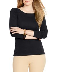 Lauren by Ralph Lauren | Black Plus Long Sleeve Boateck Tee | Lyst