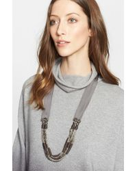 Fabiana Filippi | Gray Beaded Grosgrain Ribbon Necklace | Lyst