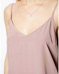 ASOS - Pink Longline Woven Cami Top - Lyst