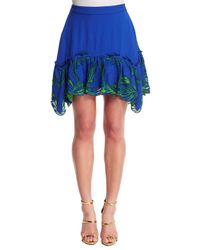 Roberto Cavalli - Blue Feather-embroidered Satin Skirt - Lyst