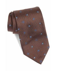 David Donahue - Brown Geometric Silk Tie for Men - Lyst