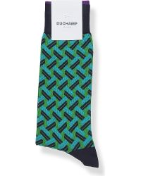 Duchamp | Green Geometric-print Cotton-blend Socks for Men | Lyst