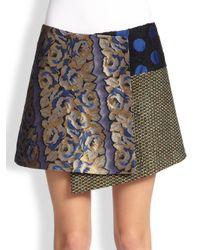 SUNO - Multicolor Asymmetrical Patchwork Wrap Skirt - Lyst
