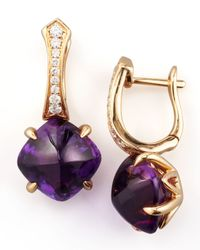 Frederic Sage | Purple Jelly Bean Amethyst Cushion  Diamond Earrings | Lyst