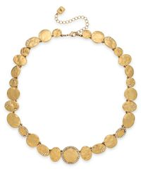 Lauren by Ralph Lauren | Metallic Sandy Cay Gold-Tone Hammered Metal And Crystal Stone Necklace | Lyst