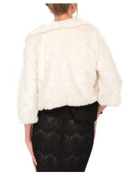 Jane Norman White Crop Sleeve Faux Fur Shrug