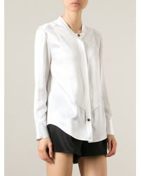 Balmain | White Pleated Yoke Shirt | Lyst