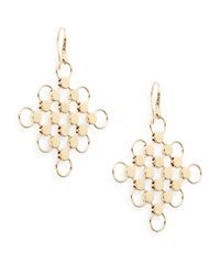 John Hardy | Metallic Dot 18k Yellow Gold Diagonal Square Drop Earrings | Lyst