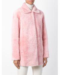 DROMe - Pink Reversible Shearling Coat - Lyst