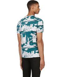 Burberry Prorsum - Green Landmark-Print Cotton T-Shirt for Men - Lyst